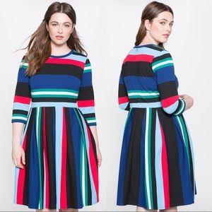 Eloquii Multicolor Opposing Stripes Stretchy Dress